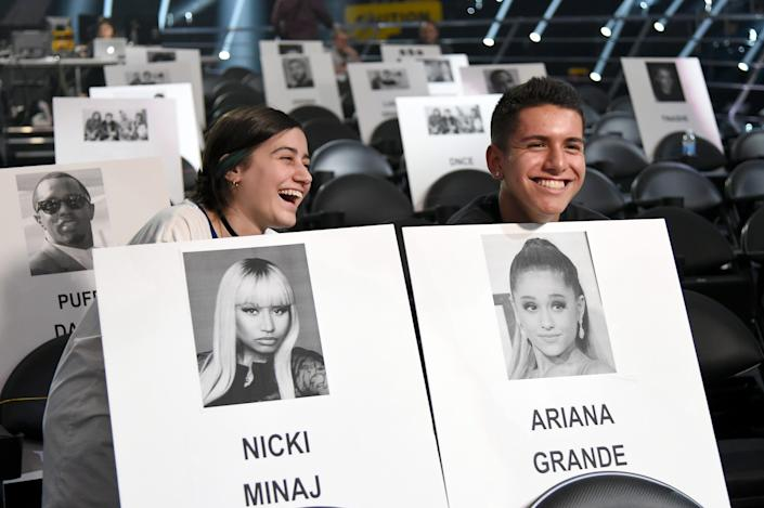 Danababy and Lohanthony pose with placeholders at the 2016 MTV VMA Press Junket at Madison Square Garden on August 25, 2016 in New York City.