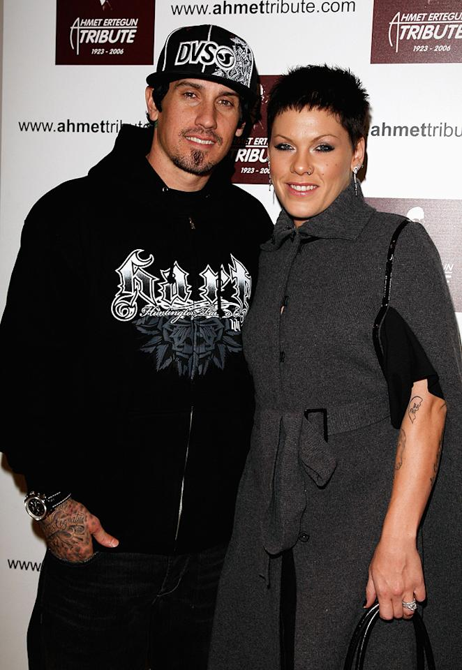"""Although Carey Hart and Pink announced that they were divorcing in February, the motocross racer told People.com that he hopes to reconcile with his pop star ex. Jon Furniss/<a href=""""http://www.wireimage.com"""" target=""""new"""">WireImage.com</a> - December 10, 2007"""