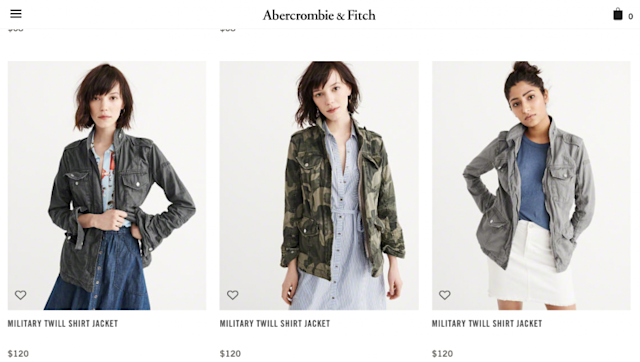 A look at Abercrombie's website shows clothes no longer stamped with the famous Abercrombie moose logo. Instead, there are overpriced items, like these military jackets, that offer nothing to customers that they can't find elsewhere — for less money. (Photos: Abercrombie.com)