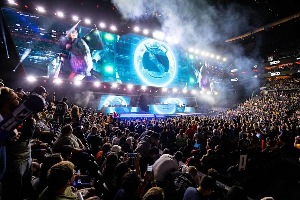 Musical entertainer Zed performs during the Overwatch League Grand Finals in 2019. The Overwatch League runs on a franchise model. (Photo: Bill Streicher-USA TODAY Sports via Reuters).