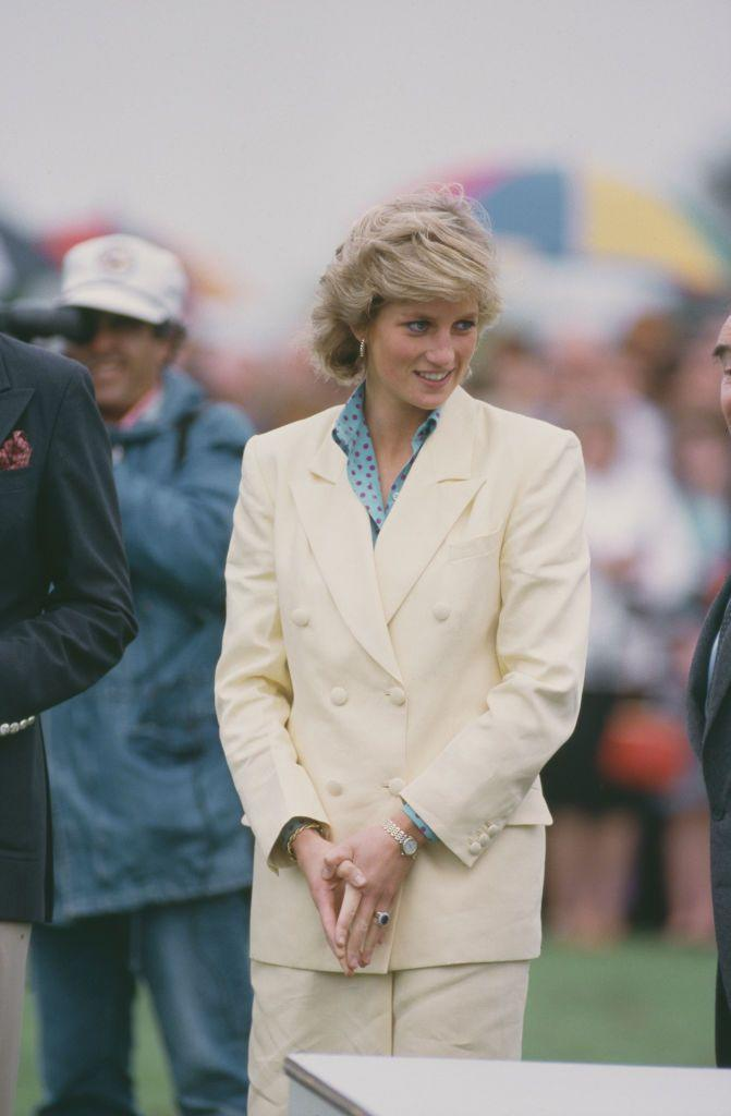 <p>Diana wore this white double-breasted blazer to a summer polo match in Windsor back in July 1987.</p>