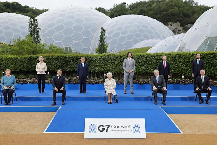 <p>The Queen is seen front and center at an evening reception for the G-7 summit on June 11, along with (left) Germany's Chancellor Angela Merkel, President of the European Commission Ursula von der Leyen, France's President Emmanuel Macron, Japan's Prime Minister Yoshihide Suga, Canada's Prime Minister Justin Trudeau, Britain's Prime Minister Boris Johnson, Italy's Prime minister Mario Draghi, President of the European Council Charles Michel and U.S. President Joe Biden.</p>