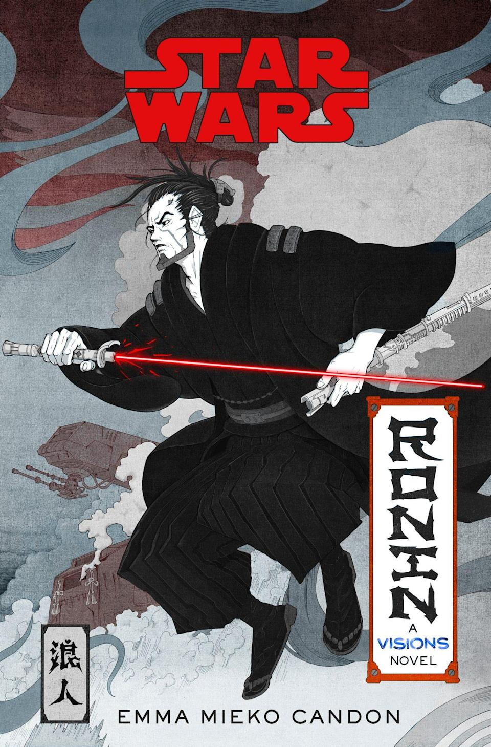 An anime style Sith in black robes with a red lightsaber on the cover of Star Wars Visions: Ronin