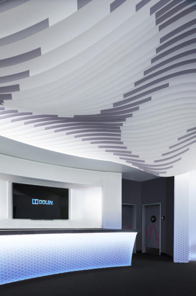 This publicity photo provided by Dolby Laboratories, Inc. shows the interior of the Dolby Lounge located inside the Dolby Theatre in the Hollywood section of Los Angeles. Dolby gave a makeover to the VIP lobby lounge. The 85th Academy Awards will be broadcast from the Dolby Theatre for the first time on Sunday, Feb. 24, 2013. (AP Photo/Dolby Laboratories, Inc., Ryan Gobuty/Gensler)