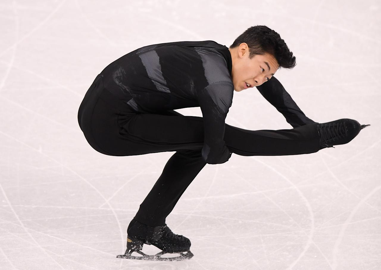 <p>Nathan Chen of the United States competes in the Figure Skating Team Event – Men's Single Skating Short Program during the PyeongChang 2018 Winter Olympic Games at Gangneung Ice Arena on February 9, 2018 in Gangneung, South Korea. (Photo by Harry How/Getty Images) </p>