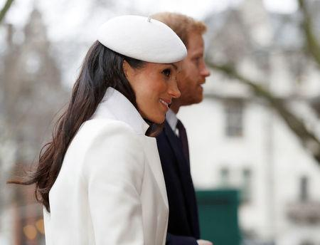 Britain's Prince Harry and his fiancee Meghan Markle arrive at the Commonwealth Service at Westminster Abbey in London