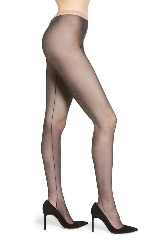 """<p>Make a statement in these fun <a href=""""https://www.popsugar.com/buy/Gucci-Metallic-Tights-486883?p_name=Gucci%20Metallic%20Tights&retailer=shop.nordstrom.com&pid=486883&price=190&evar1=fab%3Aus&evar9=45741368&evar98=https%3A%2F%2Fwww.popsugar.com%2Ffashion%2Fphoto-gallery%2F45741368%2Fimage%2F46572759%2FGucci-Metallic-Tights&list1=shopping%2Caccessories%2Ctights%2Cwinter%2Cwinter%20fashion&prop13=mobile&pdata=1"""" rel=""""nofollow"""" data-shoppable-link=""""1"""" target=""""_blank"""" class=""""ga-track"""" data-ga-category=""""Related"""" data-ga-label=""""https://shop.nordstrom.com/s/gucci-metallic-tights/5243471?origin=keywordsearch-personalizedsort&amp;breadcrumb=Home%2FAll%20Results&amp;color=black%2F%20light%20grey"""" data-ga-action=""""In-Line Links"""">Gucci Metallic Tights</a> ($190).</p>"""