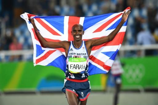 Britain's Mo Farah celebrating winning the Men's 5000m Final during the athletics event at the Rio 2016 Olympic Games on August 20, 2016