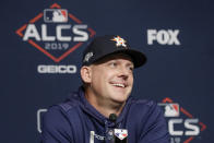 Houston Astros manager AJ Hinch answers questions during a news conference before Game 4 of baseball's American League Championship Series against the New York Yankees, Thursday, Oct. 17, 2019, in New York. (AP Photo/Frank Franklin II)
