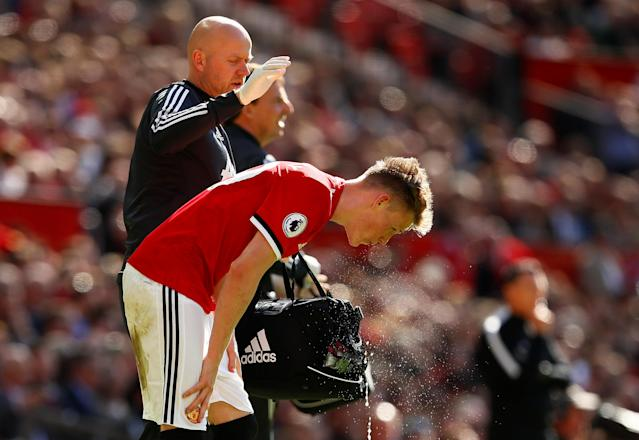 "Soccer Football - Premier League - Manchester United vs Watford - Old Trafford, Manchester, Britain - May 13, 2018 Manchester United's Scott McTominay after sustaining an injury Action Images via Reuters/Jason Cairnduff EDITORIAL USE ONLY. No use with unauthorized audio, video, data, fixture lists, club/league logos or ""live"" services. Online in-match use limited to 75 images, no video emulation. No use in betting, games or single club/league/player publications. Please contact your account representative for further details."