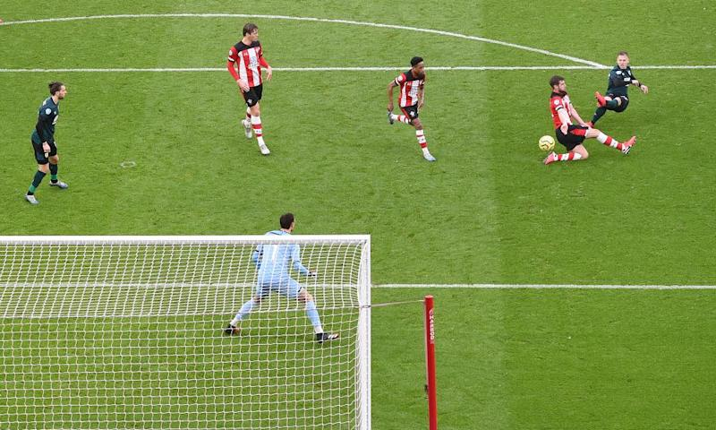 Matej Vydra watches his shot fly into the top corner to give Burnley victory at Southampton.