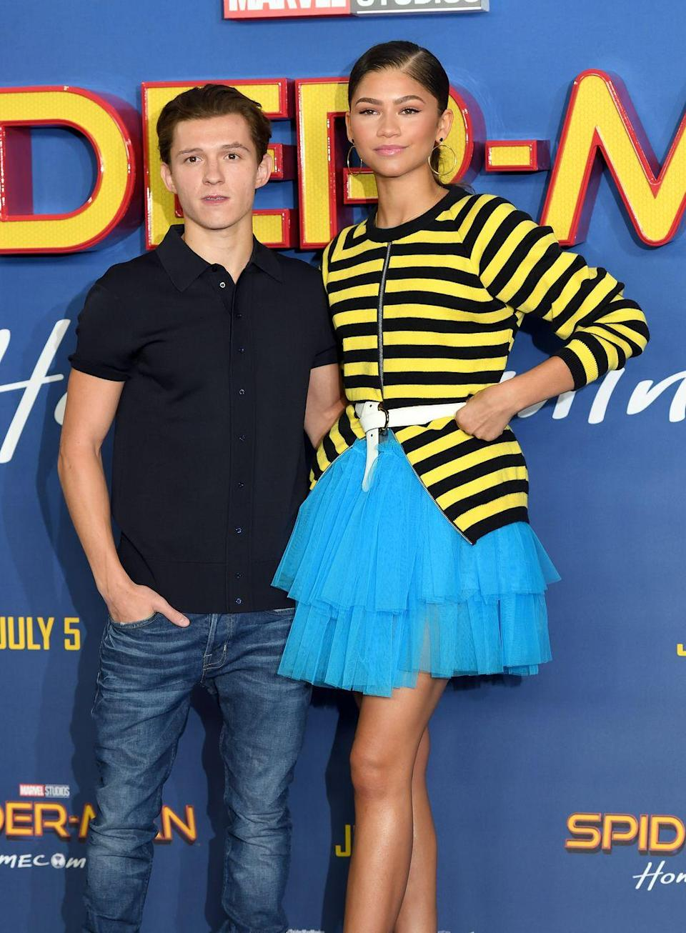 "<p>Despite spending so much time in the public eye, Zendaya managed to keep her relationship with fellow actor Tom Holland super private. The couple was apparently dating for about a year before their secret connection was <a href=""https://www.elle.com/culture/celebrities/a14424379/zendaya-and-tom-holland-still-dating-secretly-report/"" rel=""nofollow noopener"" target=""_blank"" data-ylk=""slk:reconfirmed"" class=""link rapid-noclick-resp"">reconfirmed</a> in December. They <a href=""http://people.com/movies/oscars-2018-zendaya-tom-holland-sit-together-laugh/"" rel=""nofollow noopener"" target=""_blank"" data-ylk=""slk:sat next to each other"" class=""link rapid-noclick-resp"">sat next to each other</a> at the 2018 Oscars, but by June 2019, Holland told ELLE that <a href=""https://www.elle.com/culture/movies-tv/a28074000/tom-holland-spiderman-july-2019-interview/#"" rel=""nofollow noopener"" target=""_blank"" data-ylk=""slk:he was single"" class=""link rapid-noclick-resp"">he was single</a>. Zendaya is <a href=""https://www.elle.com/culture/celebrities/a30782770/zendaya-jacob-elordi-dating-details/"" rel=""nofollow noopener"" target=""_blank"" data-ylk=""slk:now linked"" class=""link rapid-noclick-resp"">now linked</a> to her <em>Euphoria </em>co-star Jacob Elrodi.</p>"