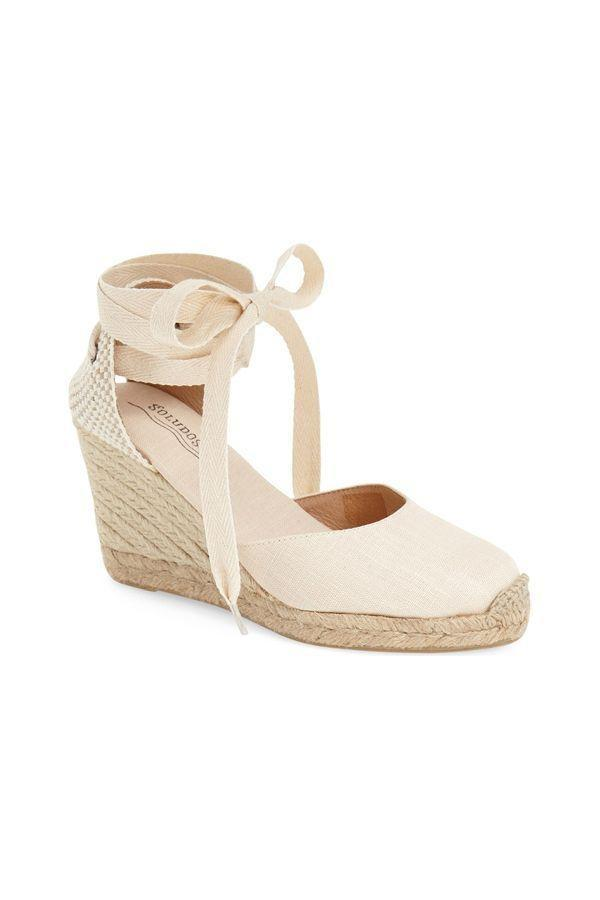 """<p><strong>Soludos</strong></p><p>nordstrom.com</p><p><strong>$94.95</strong></p><p><a href=""""https://go.redirectingat.com?id=74968X1596630&url=https%3A%2F%2Fwww.nordstrom.com%2Fs%2Fsoludos-wedge-lace-up-espadrille-sandal-women%2F4221877&sref=https%3A%2F%2Fwww.oprahdaily.com%2Fstyle%2Fg36055944%2Fmost-comfortable-wedges%2F"""" rel=""""nofollow noopener"""" target=""""_blank"""" data-ylk=""""slk:SHOP NOW"""" class=""""link rapid-noclick-resp"""">SHOP NOW</a></p><p>Sweet and kinda sexy (the lace-up straps!), this versatile style is popular with shoppers because it works with both cropped jeans and flirty dresses.</p>"""