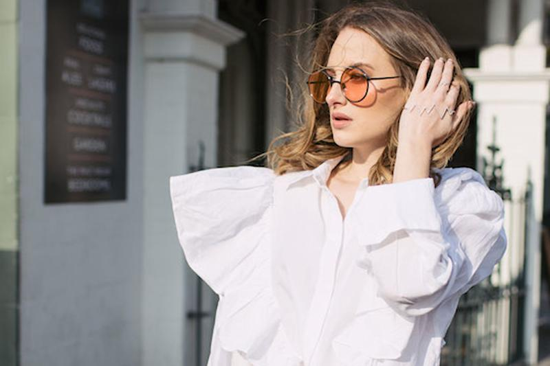 This week: Rosie wears shirt by ASOS and sunglasses by Noughts & Kisses: Rosie Fortescue