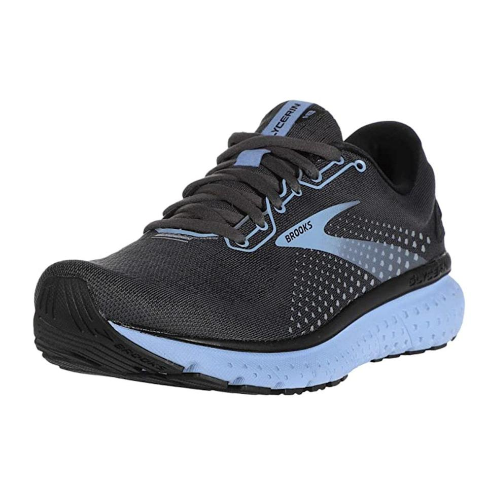 """<p><strong>Brooks</strong></p><p>amazon.com</p><p><strong>$149.95</strong></p><p><a href=""""https://www.amazon.com/dp/B07V4FWD46?tag=syn-yahoo-20&ascsubtag=%5Bartid%7C10063.g.34680247%5Bsrc%7Cyahoo-us"""" rel=""""nofollow noopener"""" target=""""_blank"""" data-ylk=""""slk:Shop Now"""" class=""""link rapid-noclick-resp"""">Shop Now</a></p><p>Brooks running shoes are a great choice for runners who are beginners or experienced. Made in the USA, the Women's Glycerin 18 is described as """"perfect for runners who think there's no such thing as too much cushioning"""". A pro tip for selecting running shoes -- cushion and support are key to avoid injury and enhance form. </p>"""