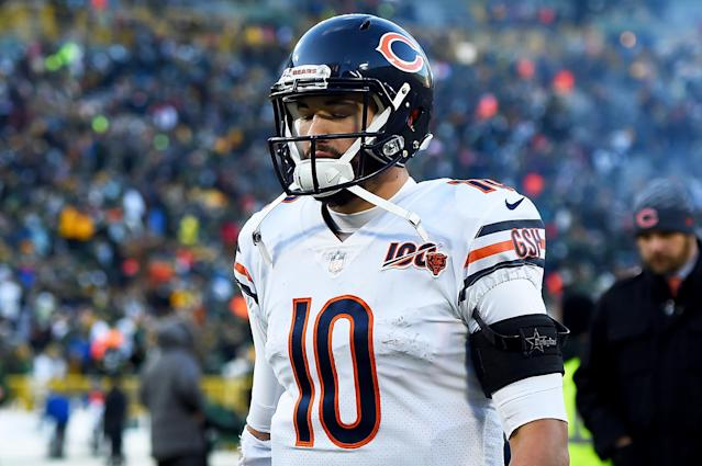 Chicago Bears QB Mitchell Trubisky made some curious comments about his coach after a 21-13 loss to the Green Bay Packers at Lambeau Field. (Photo by Stacy Revere/Getty Images)