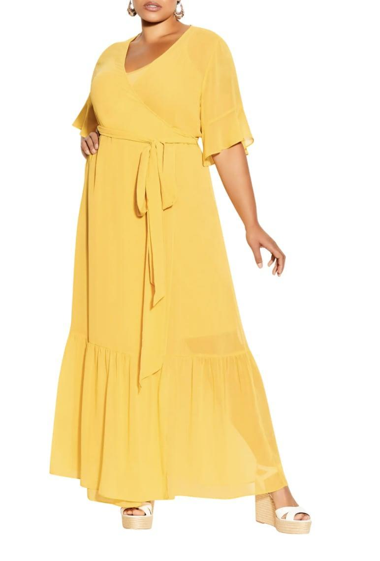 <p>Pair this <span>City Chic Flutter Sleeve Faux Wrap Maxi Dress</span> ($109) with your favorite pair of wedges for a brunch-ready ensemble.</p>
