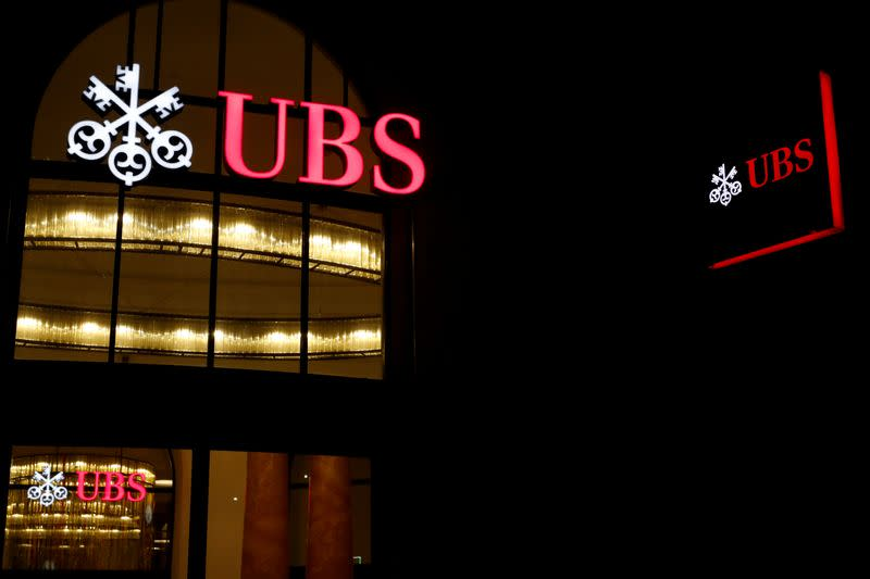 FILE PHOTO: Logo of Swiss bank UBS is seen in Basel