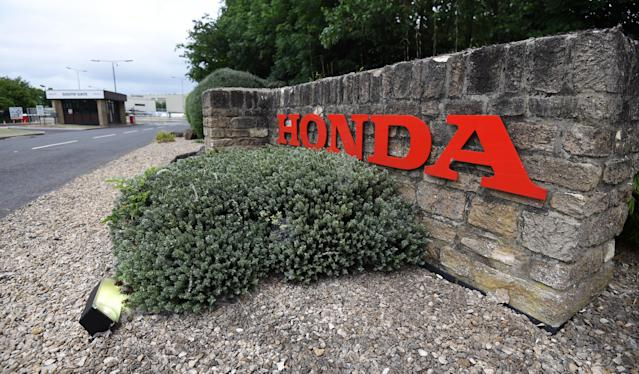General view of a Honda sign outside of Honda of the UK Manufacturing Ltd's factory in Swindon