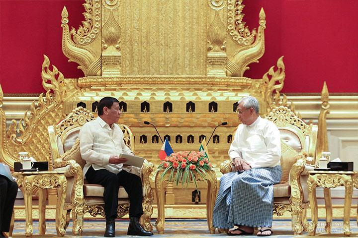 President Rodrigo Duterte meets with Myanmar President U Htin Kiaw in the Presidential Palace in Nay Pyi Taw, Myanmar on March 20, 2017. (Photo from Presidential Communications)