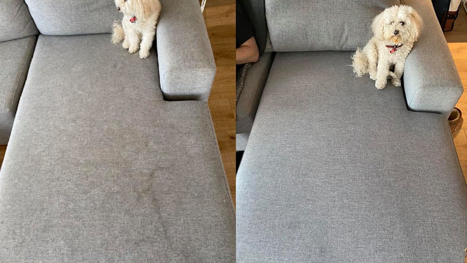 Dirty grey couch transformed with Bissel SpotClean product