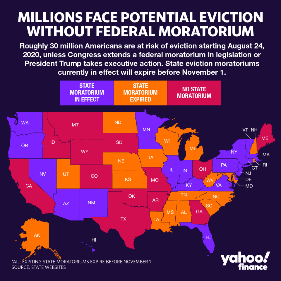 An estimated 30 to 40 million Americans are at risk of eviction over the next several months after a federal eviction moratorium for government-backed mortgages expired on July 24, according to a report from The Aspen Institute, a nonpartisan think tank. (Graphic: David Foster)