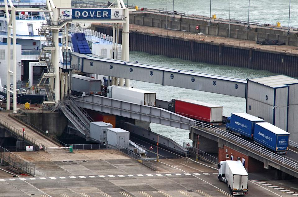 DOVER, UNITED KINGDOM - 2020/09/03: Lorries begin to board the DFDS Ferry at Dover. Very little sign of anything other than lorry freight at Dover terminal. No foot passengers or cars appear to be embarking or disembarking with the recent need to self-isolate when travelling home from France seemingly hitting Dover hard. The UK's major cross channel ferry port has been hit twice this year. Firstly, the continued uncertainty over how Brexit will affect the European trading and now the Covid-19 quarantine restrictions that were put in place a fortnight ago. (Photo by Keith Mayhew/SOPA Images/LightRocket via Getty Images)