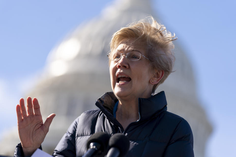 Sen. Elizabeth Warren, D-Mass., speaks at a news conference on Capitol Hill in Washington, Thursday, Feb. 4, 2021, about plans to reintroduce a resolution to call on President Joe Biden to take executive action to cancel up to $50,000 in debt for federal student loan borrowers. (AP Photo/Andrew Harnik)