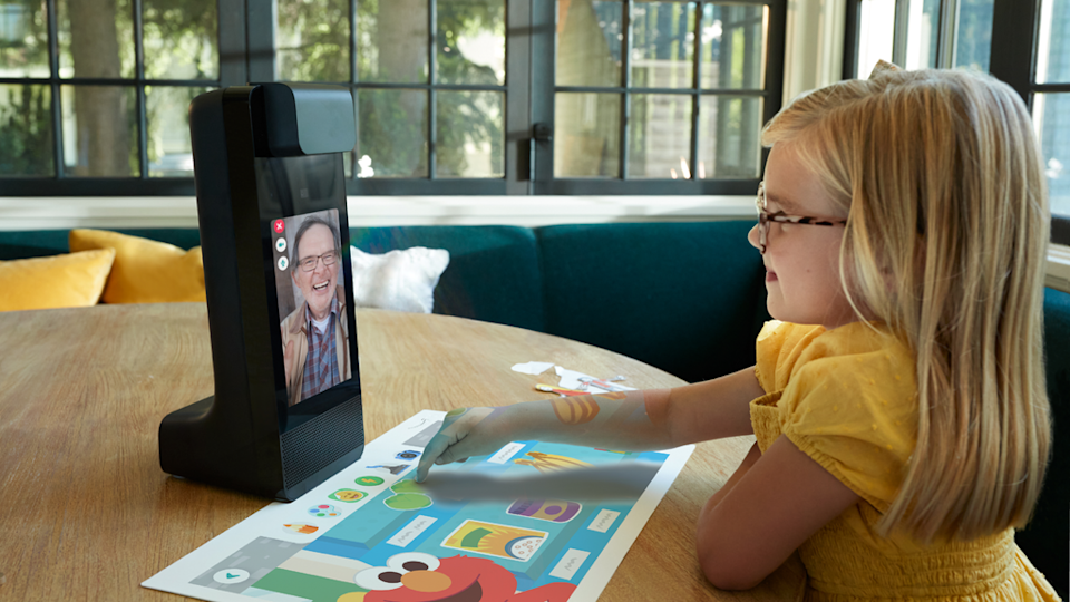 The Amazon Glow includes projected tabletop activities for children to do while on calls with family. (Amazon)