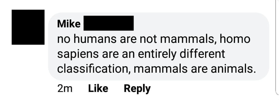 facebook post about a person who says humans aren't mammals