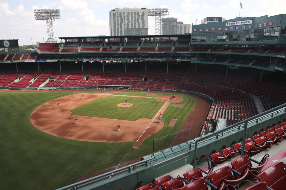 Boston Red Sox play an intra-squad baseball game at a Fenway Park empty of fans on Thursday, July 9, 2020, in Boston. (AP Photo/Charles Krupa)