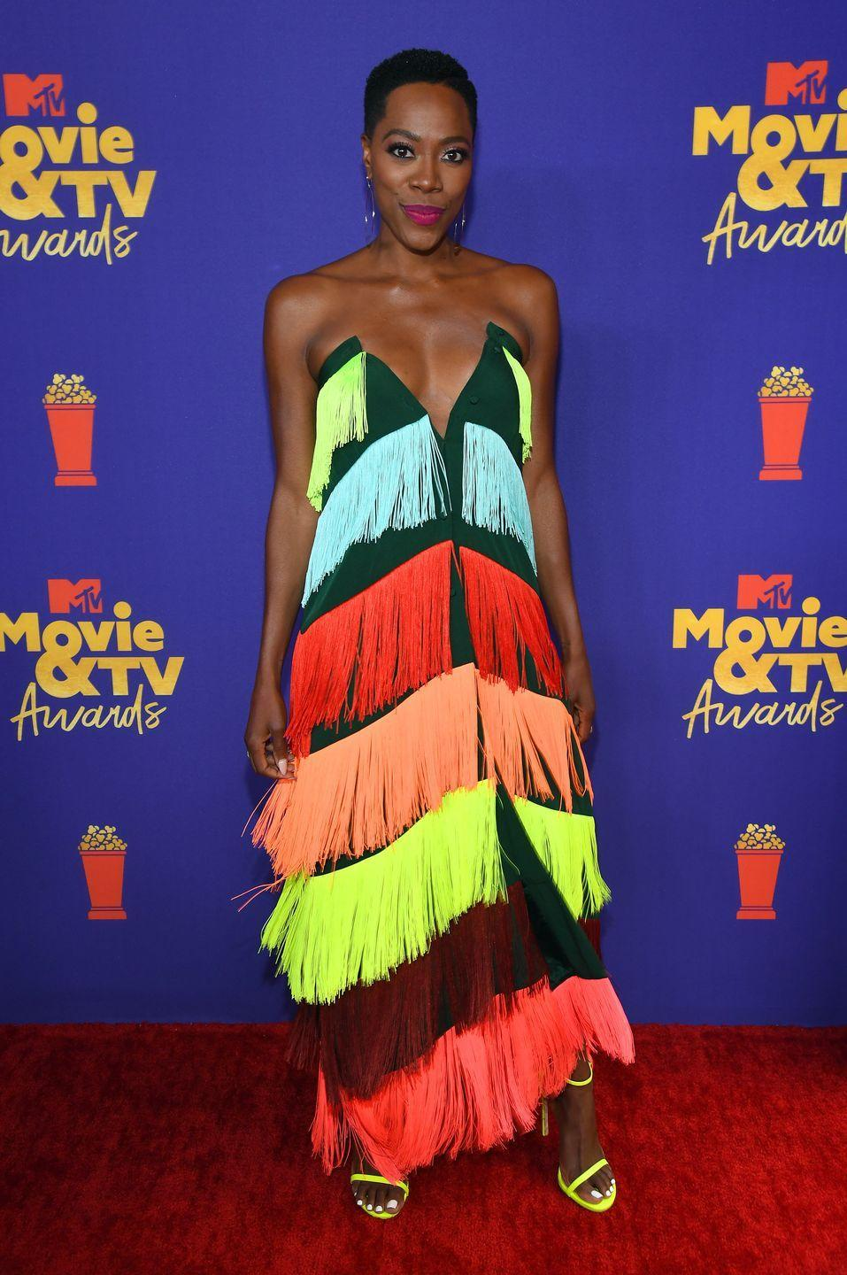 <p>Yvonne Orji brought a little drama to the red carpet in a fun fringed gown by Mimi Plange.</p>