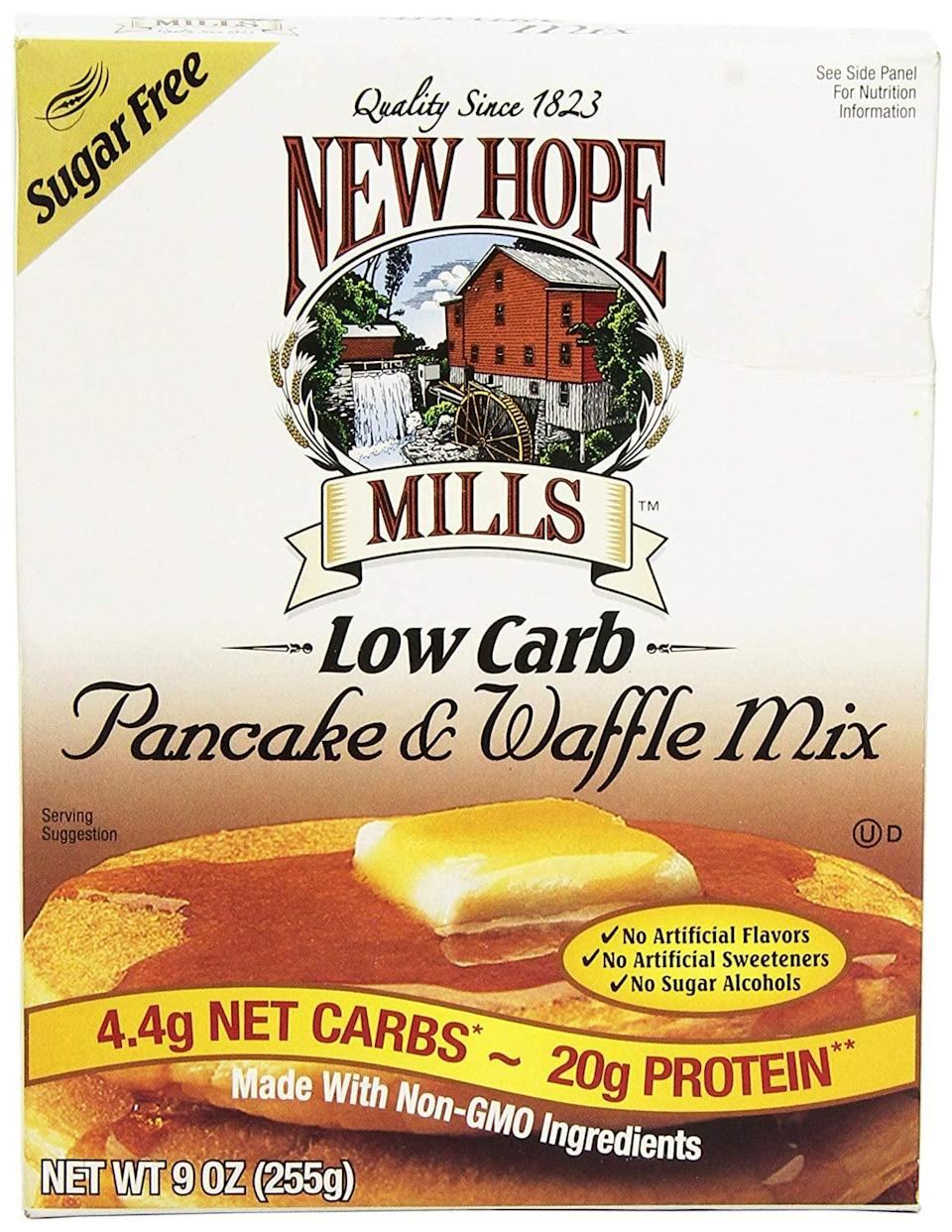 """<p>Packed with protein, this <a href=""""https://www.popsugar.com/buy/New%20Hope%20Mills%20Sugar%20Free%20Pancake%20%26amp%3B%20Waffle%20Mix-436268?p_name=New%20Hope%20Mills%20Sugar%20Free%20Pancake%20%26amp%3B%20Waffle%20Mix&retailer=amazon.com&price=10&evar1=fit%3Aus&evar9=46042877&evar98=https%3A%2F%2Fwww.popsugar.com%2Ffitness%2Fphoto-gallery%2F46042877%2Fimage%2F46043281%2FNew-Hope-Mills-Sugar-Free-Pancake-Waffle-Mix&list1=shopping%2Camazon%2Cbreakfast%2Cpancakes%2Cbreakfast%20food%2Chealthy%20breakfast%2Cwaffles%2Cprotein%20pancakes%2Clow-carb&prop13=api&pdata=1"""" rel=""""nofollow noopener"""" target=""""_blank"""" data-ylk=""""slk:New Hope Mills Sugar Free Pancake & Waffle Mix"""" class=""""link rapid-noclick-resp"""">New Hope Mills Sugar Free Pancake & Waffle Mix</a> ($10) is an awesome breakfast choice.</p>"""