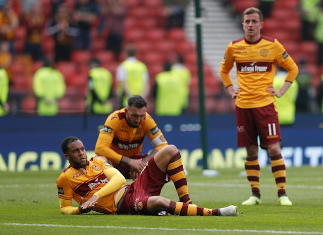 Soccer Football - Scottish Cup Final - Celtic vs Motherwell - Hampden Park, Glasgow, Britain - May 19, 2018 Motherwell's Charles Dunne looks dejected after the match REUTERS/Russell Cheyne