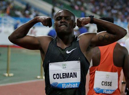 Athletics - Diamond League - Rabat, Morocco - July 13, 2018 Christian Coleman of the U.S. celebrates winning the Men's 100m REUTERS/Youssef Boudlal