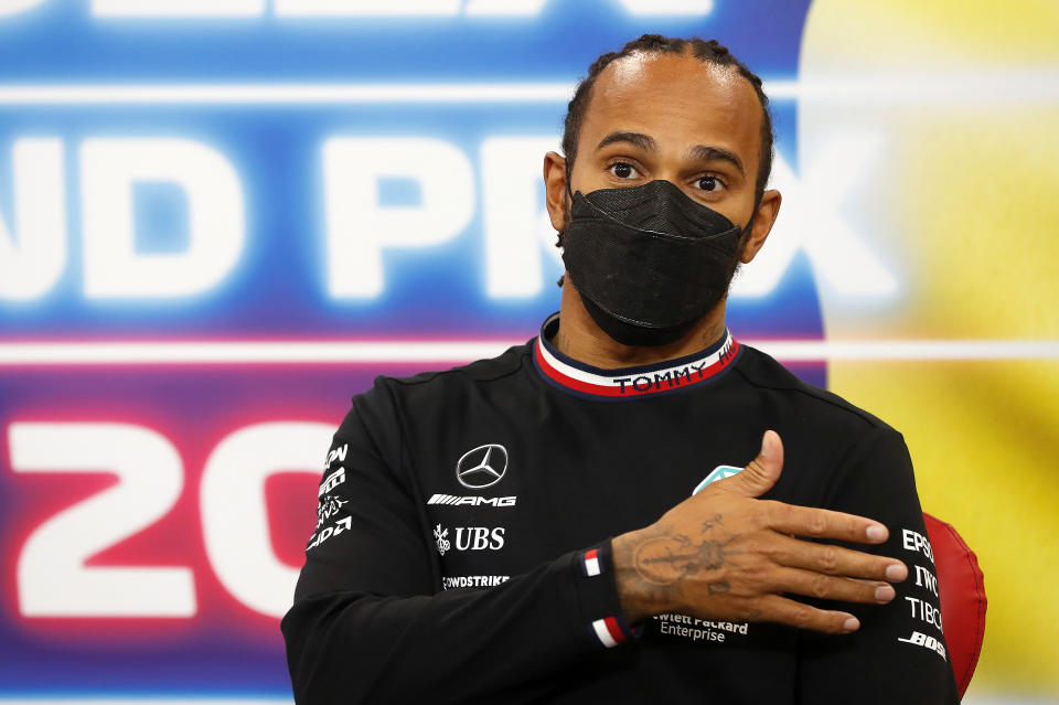SPA, BELGIUM - AUGUST 29: Third placed Lewis Hamilton of Great Britain and Mercedes GP talks in the press conference after  the F1 Grand Prix of Belgium at Circuit de Spa-Francorchamps on August 29, 2021 in Spa, Belgium. (Photo by Antonin Vincent - Pool/Getty Images)
