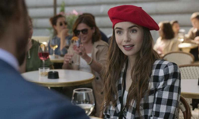 Lily Collins in a scene from the series Emily in Paris