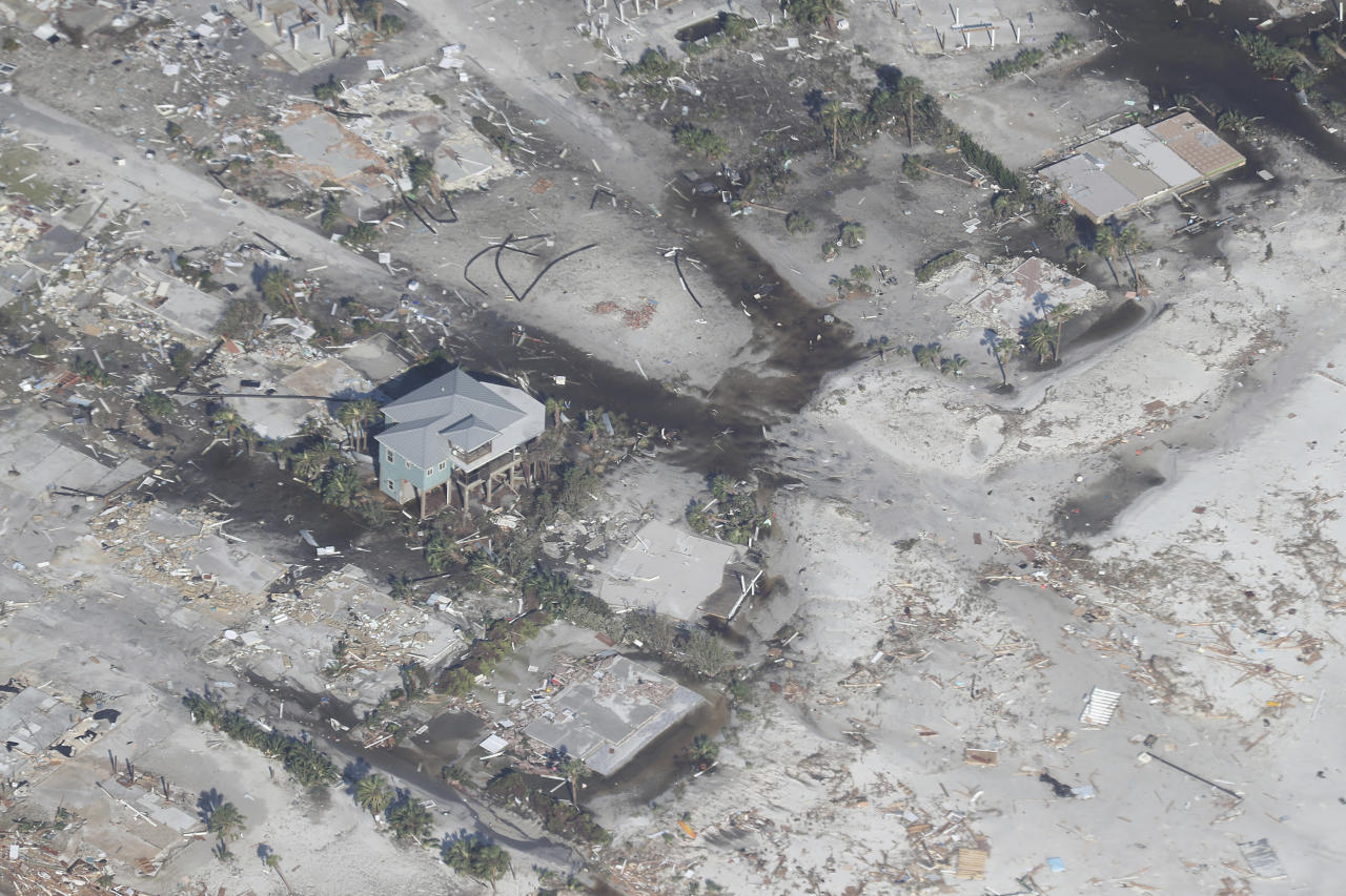 <p>Aerial footage captures the damage in Mexico Beach a day after Hurricane Michael in Mexico Beach, Florida on October 11, 2018. (Photo: mpi34/MediaPunch /IPX/AP) </p>