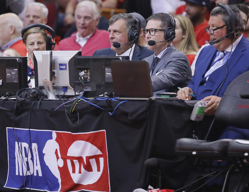 HOUSTON, TEXAS - APRIL 14: TNT on NBA commentators Kevin McHale, left, and Brian Anderson on the call during Game One of the first round of the 2019 NBA Western Conference Playoffs between the Houston Rockets and the Utah Jazz at Toyota Center on April 14, 2019 in Houston, Texas. NOTE TO USER: User expressly acknowledges and agrees that, by downloading and or using this photograph, User is consenting to the terms and conditions of the Getty Images License Agreement. (Photo by Bob Levey/Getty Images)