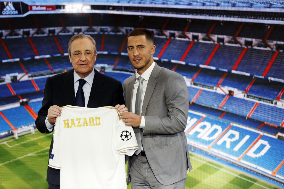 MADRID, SPAIN - JUNE 13: (BILD ZEITUNG OUT) Florentino Perez and Eden Hazard look on on June 13, 2019 in Madrid, Spain. (Photo by Berengui/DeFodi Images via Getty Images)