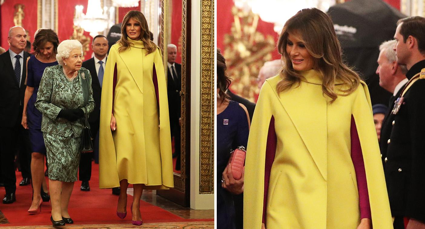 Melania Trump wore a bold yellow look for the NATO reception. [Photo: Getty]