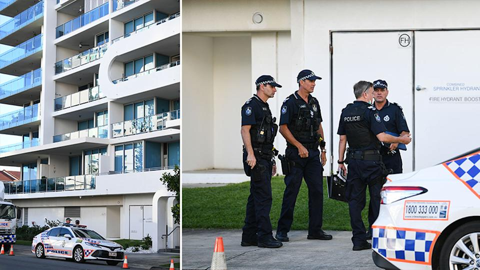 Police officers outside a Gold Coast apartment block after a suspected murder-suicide.