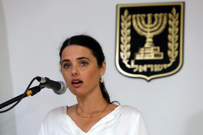 "Israel's Justice Minister Ayelet Shaked, pictured on May 17, 2015, met with senior Facebook executives about a planned law to ban the use of the social network for the advancing of ""terror"""