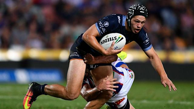 Kalyn Ponga will join Newcastle Knights next term, but that did not stop him running in two tries in a victory for North Queensland Cowboys.