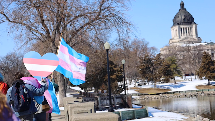 Transgender rights advocates protest at Gov. Kristi Noem's mansion and at the Capitol in Pierre, S.D., on March 11.