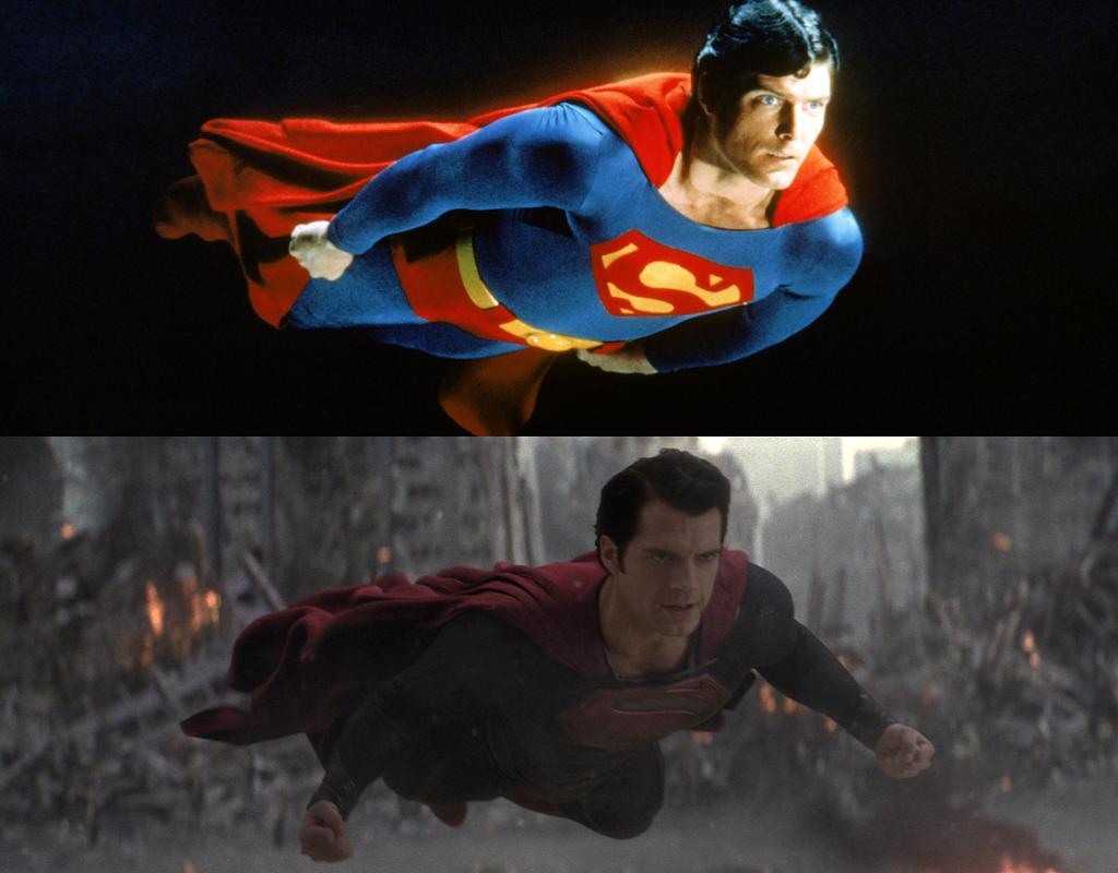"""<b>FLYING</b><br>Christopher Reeve had limited movement when in flying mode due to the fact that he was strapped in a harness. <a href=""""http://movies.yahoo.com/person/henry-cavill/"""">Henry Cavill</a> ... well, thanks to the magic of computers and CG technology, there's a good chance that's not even Henry Cavill at all, so he can strike all sorts of battle-ready poses when he's off the ground."""