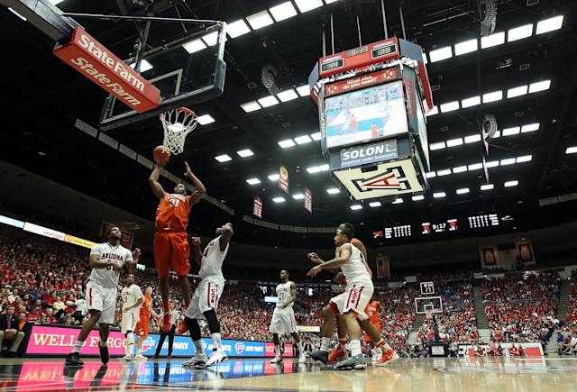 TUCSON, AZ - DECEMBER 10: Devin Booker #31 of the Clemson Tigers puts up a shot against the Arizona Wildcats during the college basketball game at McKale Center on December 10, 2011 in Tucson, Arizona. The Wildcats defeated the Tigers 63-47. (Photo by Christian Petersen/Getty Images)