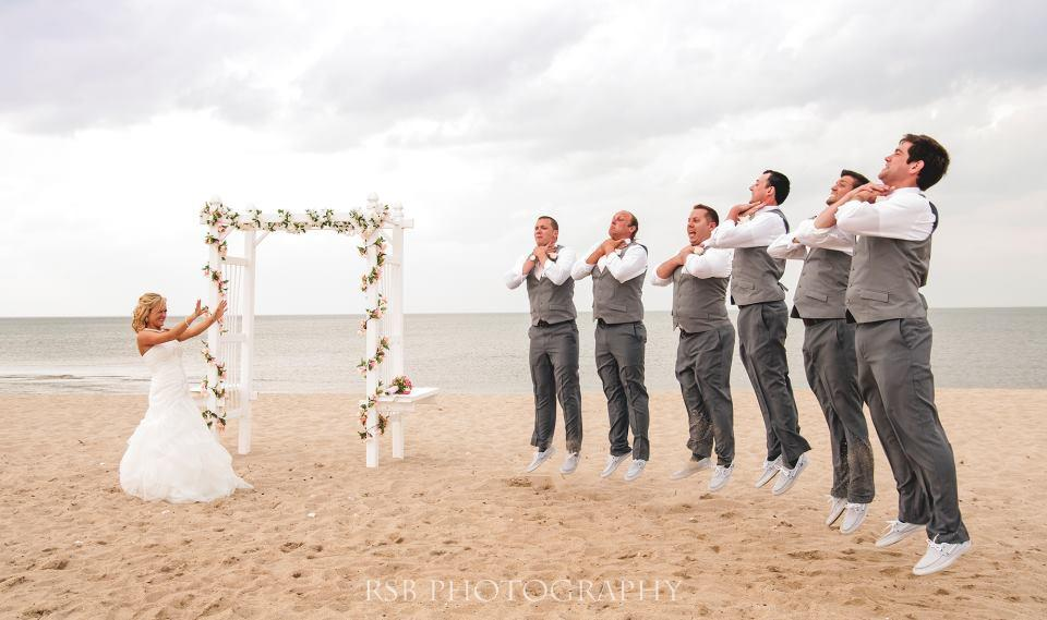 "<div class=""caption-credit""> Photo by: RSB Photography</div><div class=""caption-title"">Movie-Inspired</div>Here, the bride channeled Darth Vader and used the ""Force Choke"" to lift the groom and groomsmen off the ground. <a rel=""nofollow"" href=""http://www.bridalguide.com/planning/engagement/star-wars-themed-engagement-photos""><b>Related: Star Wars-Themed Engagement Photos</b></a>"