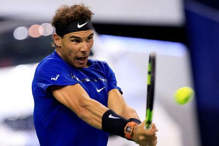 Tennis - Shanghai Masters tennis tournament - Shanghai, China - October 12, 2017 - Rafael Nadal of Spain in action against Fabio Fognini of Italy. REUTERS/Aly Song