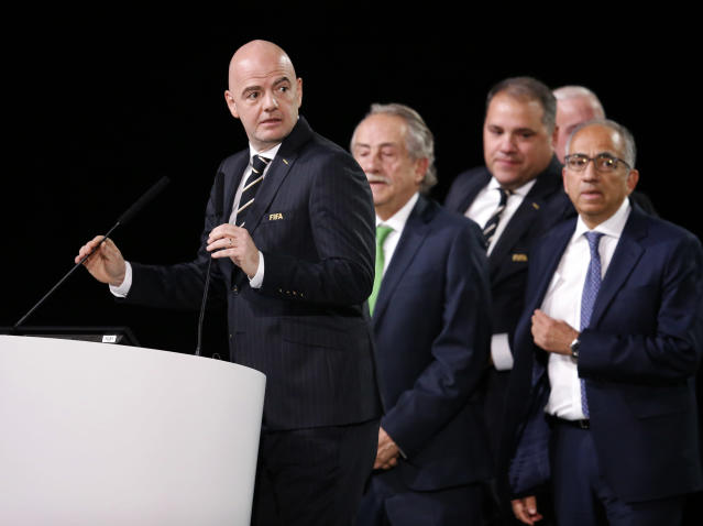 FIFA President Gianni Infantino speaks in front of North America soccer officials at the FIFA congress on the eve of the opener of the 2018 soccer World Cup in Moscow, Russia, Wednesday, June 13, 2018. The congress in Moscow is set to choose the host or hosts for the 2026 World Cup. (AP Photo/Alexander Zemlianichenko)